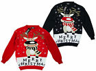 Adult's Xmas Jumper - Cute Rudolph Merry Christmas Logo Design One Size UK Made