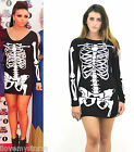 Ladies Halloween Skeleton Skull Bone Print Stretch Bodycon Bodysuit Dress  UK