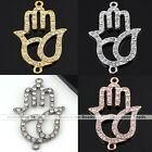 Crystal Hamsa Big Hand Plam Bracelet Connector Pretty Charm Bead Jewelry Diy