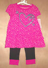 Circo Toddler Girls Shirt with Heart Black Pink Leggings Size 12M and 18M  NWT