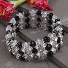 3 Row Black/Colors Faceted Crystal Glass Beads Cuff Bracelet Bangle Fashion 1x