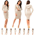 Purpless Maternity Pregnancy and Nursing Hooded Bodycon Dress with Pocket 6211