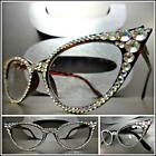 VINTAGE CAT EYE Style READING GLASSES READERS Tortoise Frame Iridescent Crystals