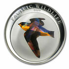 2009 Palau Large Color Prism  Silver $5 Barn Swallow Bird