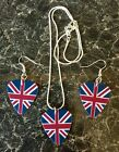 Union Jack, Flag, Guitar Pick, Plectrum Earrings Necklace, Rockabilly, Steampunk