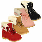 Girls Boots Kids Shoes Military High Ankle Kelsi Lace Up Buckle Fur Lined Winter