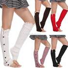 Crochet Knitted Legging Socks Leg Warmers Boot Cover Women Toppers Button D0X8