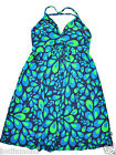 The North Face sun dress M 8 10 Aqua Green Navy coctail padded Halter altered~