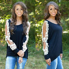 NEW Women's Loose LACE Long Sleeve Casual Black Shirt Tops Fashion Blouse