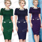 Women Crew Neck Striped Trims Spring Summer Bodycon Business sheath Dress B214