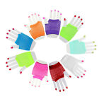 NEW SHORT FISHNET FANCY DRESS FINGERLESS GLOVES NEON COLOURS FOR 80s DANCE TUTU