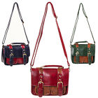 Womens New 40s 50s Vintage Hipster Faux Leather Satchel Messenger Bag Handbag