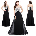 New Long Black CORSET Masquerade Ball Gowns Bridesmaid Formal Evening Prom Dress