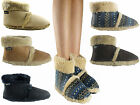 NEW MENS BOYS COOLERS FURRY MICROFIBER SUEDE ANKLE WARM BOOT SLIPPERS SIZE3-8