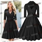 Women V Neck Bow Belt Vintage Classical Casual Swing Formal Party Office Dresses