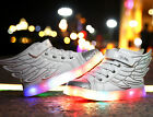 Boys Girls 7 Color USB LED Light Up Luminous Shoes Wings Kids Casual Sneakers