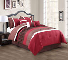 11 Piece Burgundy/Coffee/White Bed in a Bag w/600TC Sheet Set