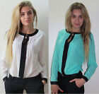 2015 NEW Women Chiffon Long Sleeve Tops T-shirt Blouse UK Size 6 8 10 12 14 16