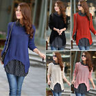 New Women Ladies Casual Long Sleeve Chiffon Knitted Sweater Blouse Tops T Shirt