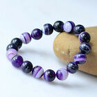 Certified 6-12mm Natural Purple Deads Agate Bracelet