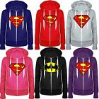 Kids Boys Girls Superman Batman Plain Hoody Zip Top Sweatshirt Jacket 7 13 Year