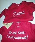 Unisex Faded Glory Brand Red Christmas Onesis Baby's 1st or Got Grandparents