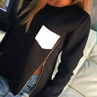 Winter Womens Long Sleeve Shirt Zipper Blouse Cotton Pocket Tops Shirt Black