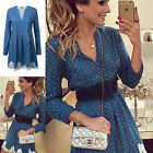 Womens V-neck Long Sleeve Evening Party Cocktail Lace Mini Dress One Color