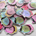 New 10/50/100/500pcs Tropical Fish Wood Buttons Sewing Craft T0810