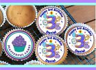 24 PERSONALISED 3rd BIRTHDAY BLUE DESIGN 1 CUPCAKE TOPPER RICE, WAFER or ICING