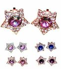 Swarovski Star Colourful Crystal 18K Gold/Silver Plated Clip-On Stud Earrings