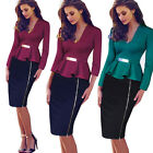 Women Peplum Metal Waist Work Autumn Winter Long Sleeve Bodycon Tunic Dress B241