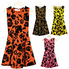 Girls Floral Skater Dress Kids Sleeveless Party Flared dresses Outfit 7-13 Years