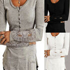 Fashion Womens Autumn Long Sleeve Shirt Casual Lace Blouse Cotton Tops T-Shirt