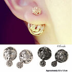 2015 Double Sides Hollowed Gold Plated Ball Ear Studs Earrings Good Gift CUB