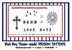 PRISON JAIL BAD BOY criminal fancy dress temporary TATTOOS WATERPROOF last1WEEK+