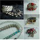 Clear Crystal White Leopard Blue Pink Red Genuine Leather Belt Metal Chain