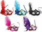 Shiny Metallic Venetian Masquerade Mask w/Ostrich Feather Prom Party Halloween