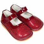Freycoo Girls Kids Toddler Faux Leather Squeaky Party Shoes - Red Sparkle
