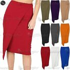 Womens Asymmetric Pencil Skirt Ladies Front Big Pocket Wrap Over Bodycon Wiggle