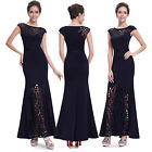Women's Elegant Round Neck Long Evening Party Formal Dress 08545