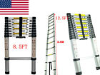 US 8.5/12.5Ft Telescoping Aluminum Extension Tall Multi Purpose Telescope Ladder