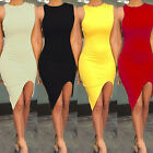 CHIC Women Tops Cropped Sleeveless Slit Casual Long T shirt Slim Dress Clothes