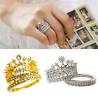Women's Crown Statement Ring 2 Band Stack Rhinestone Alloy Jewelry Gift Alluring
