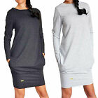 Women's Pocket Long Pullover Jumper Cocktail Party Tunic Wrap Sweater Mini Dress