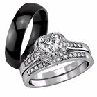Her Sterling Silver 1.65 Ct CZ His Titanium Engagement Vogue Wedding Ring Set
