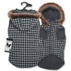 DOG COAT GREY HOUNDSTOOTH Winter Warm Pet Jacket W/ Faux Fur Trim Zack & Zoey