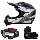 LEO-X18 Junior Kids Motorbike Motocross MX Helmet Gloves + Kids Goggles Monster