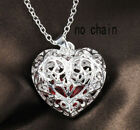 Women Fashion 925 Sterling Silver Red CZ Hollow Heart Pendant Chain Necklace