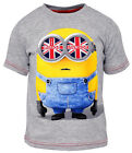 Boys Chainstore Minions Invasion British Flag T-Shirt Top Grey 3 to 8 Years